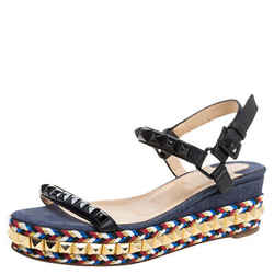 Christian Louboutin Black Studded Leather Cataclou Espadrille Wedge Sandals