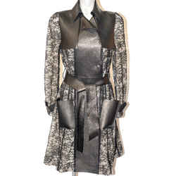 Valentino Black Leather And Lace Overlay Coat