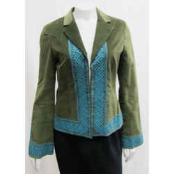 Tory Burch 4 Olive Green Velvet Jacket Tribal Embroidered Turquoise Blazer Small