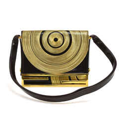 Vintage Fendi Deep Brown & Gold Circular Swirl Flap Shoulder bag