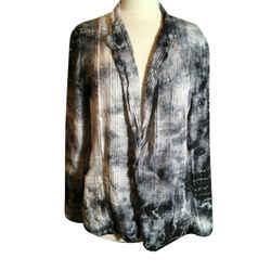 Raquel Allegra Size S/m Black Gray Hombre Silk & Cotton Jacket 2400-812-12119