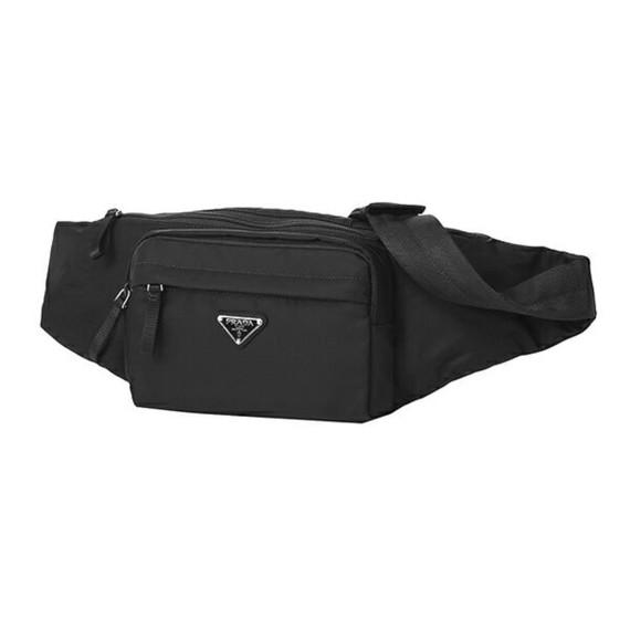 Prada Unisex Marsupio Belt Bag Black Fanny Pack Nylon Tessuto 2vl005