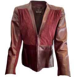 Roberto Cavalli Burgundy Stiching Jacket