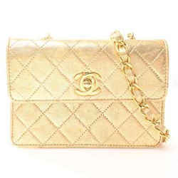 Auth Chanel Chanel Leather Mini Matelasse Chain Shoulder Bag Gold