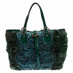 Valentino Green Silk and Patent Leather Organza Rosier Tote