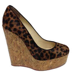 Christian Louboutin Brown Leopard Printed Pony Hair Wedges Size: Eu 35.5 (approx. Us 5.5) Regular (m, B) Item #: 22098636