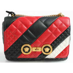 Versace Runway Icon Quilted Shoulder Bag - Red/Black/White