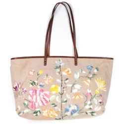 Fendi - Large Floral Burlap Tote Shoulder Bag - Multicolor Embroidered Print