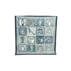 Auth Hermes Scarf 100% Cotton Le Boubou H Petrossian 65 Carre Gray Blue Kelly