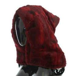 Dolce & Gabbana Bordeaux Hamster Fur Crochet Hood Scarf Women's Hat