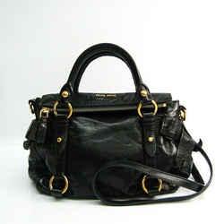 Miu Miu Side Ribbon Women's Leather Handbag,Shoulder Bag Black BF521774