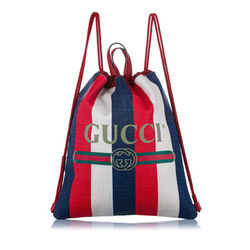 Vintage Authentic Gucci Red Sylvie Stripe Canvas Drawstring Backpack ITALY