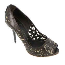 Brown Laser Cut Leather Heels<br>Size: 6   EU 36