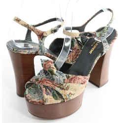 Saint Laurent Natural Candy Tapestry Wooden Platform Sandals