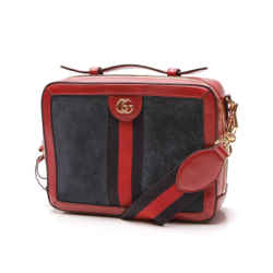 Gucci Ophidia Suede Blue Red Web Stripe Zip Around Leather Shoulder Bag 550622