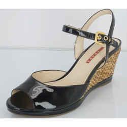 Prada Sport Black Patent Ankle Strap Woven Raffia Wedge Heel Sandals Size 39