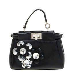 Fendi Black Floral Embellished Leather Micro Peekaboo Top Handle Bag