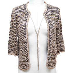 Chanel Cardigan Sweater Knit Navy Beige Gold 3/4 Sleeve Gold Chain 2011 Sz 34