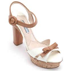 PRADA Platform Sandal White Saffiano Leather Natural Cork Peep Toe Sz 37.5