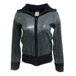 Chanel Navy Blue 2008 Sequin Zip Jacket