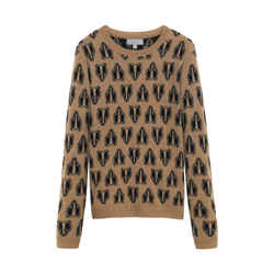 Mulberry Badger Print Knit Small S Sweater Camel Cashmere Black Tan Long Sleeve