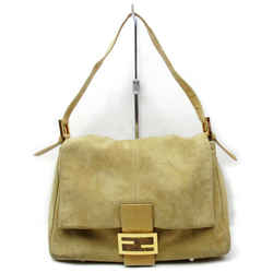 Fendi FF Forever Momma Mamma Mama Flap Beige Suede Hobo 872784