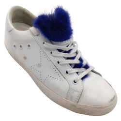 Golden Goose Deluxe Brand White and Blue Superstar Distressed Leather Mink Fur Sneakers