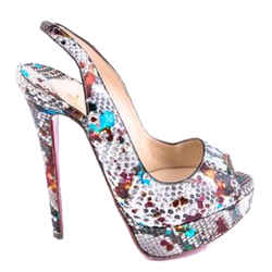 Christian Louboutin Peep Carnaval Pumps Brown One Size Authenticity Guaranteed
