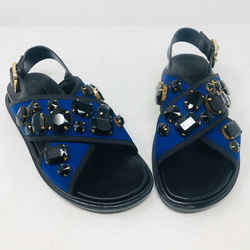 Marni 38 Black Purple Neoprene Leather Rhinestone Sandals Nwob 2400-523-3320