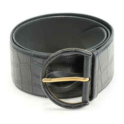 Saint Laurent Crocodile-Effect Leather Belt