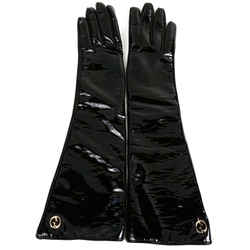 Gucci - Long Driving Gloves - Gg Logo - Black Patent & Leather