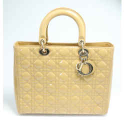 Dior Cannage Quilted Patent Leather Large Lady Dior Bag