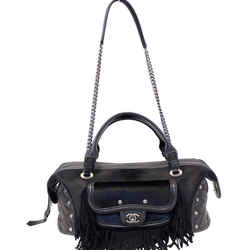 Chanel Paris Dallas Pony Hair Leather Fringe Bowling Bag Black