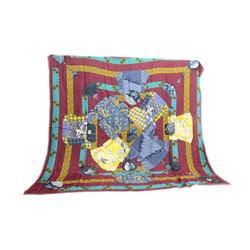 Authentic Hermes Scarf Cashmere Kimonos et Inros Faivre Shawl Silk 140cm Carre