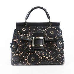 Roger Vivier Bag Viv Cabas Black Floral Laser Cut Leather Satchel