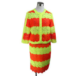 Moschino Neon Yellow and Orange Crochet Pattern Skirt Suit Size 8