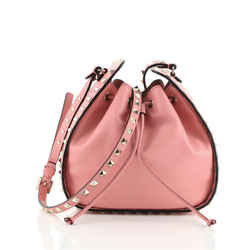 Rockstud Drawstring Bucket Bag Leather Small