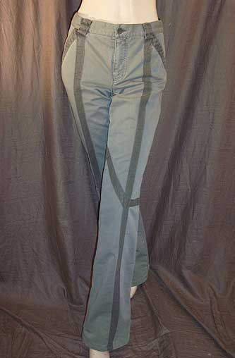 Chloe See Sage Green Striped Pants 44IT 10/12 NWOT