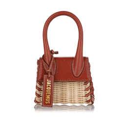 Brown Jacquemus Mini Le Chiquito Wicker Satchel Bag