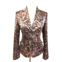 Joseph  Brown/mauve Animal-print Cotton-blend Fitted Jacket/blazer  Size: It42 / Us6