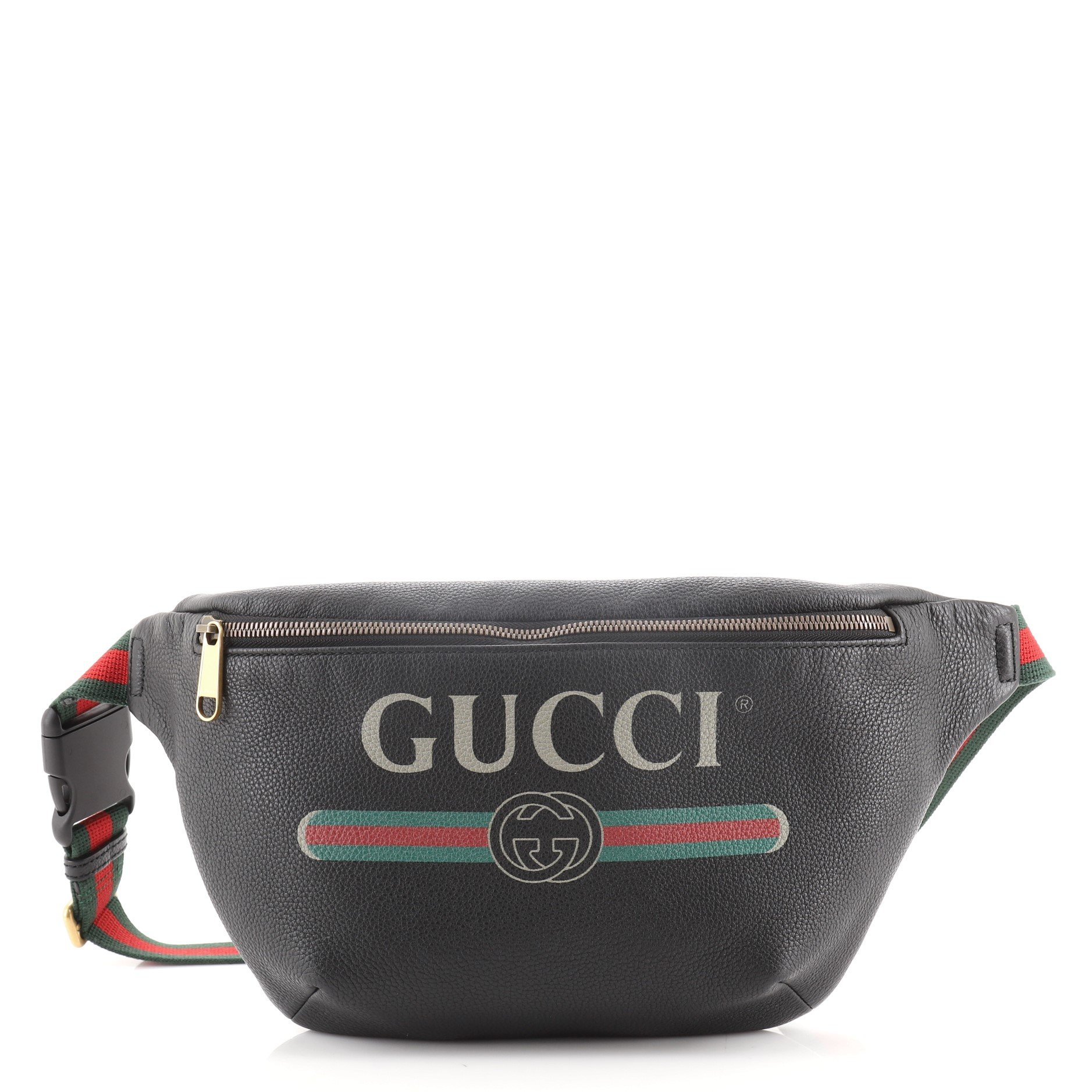 Printed leather fanny pack
