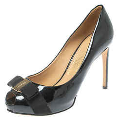 Salvatore Ferragamo Black Patent Leather Vara Bow Peep Toe Pumps Size 38