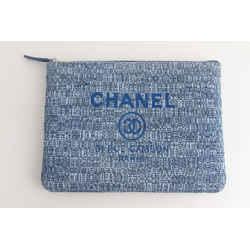 Chanel Cc Logo Deauville Pouch Clutch