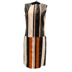 Bottega Veneta Black and Pink Multi Leather Pieced Dress
