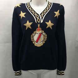 St John Navy Star Motif Sweater Small