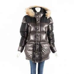 Moncler Coat Frey Brown Down Filled Puffer Fur Trim Hood Men's SZ 4
