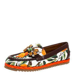 Dolce & Gabbana Multicolor Brocade Fabric Crystal Embellished Loafers Size 40