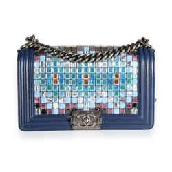 Chanel Limited Edition Navy Blue Leather & Mosaic Medium Boy Bag