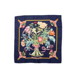 Navy & Multicolor Hermes 'Regina' Silk Scarf