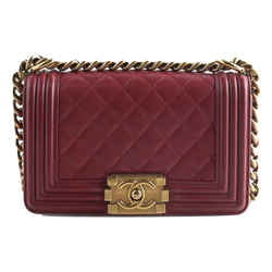 Chanel Red Lambskin Small Boy Bag